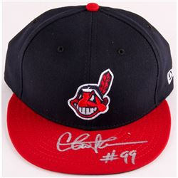 "Charlie Sheen Signed Indians New Era Baseball Hat Inscribed ""#99"" (Steiner COA)"