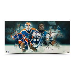Grant Fuhr Signed LE Oilers 15x30 Collage Photo (UDA COA)
