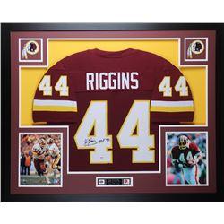 """John Riggins Signed Redskins 35x43 Custom Framed Jersey Inscribed """"HOF 92"""" (PSA COA)"""