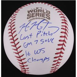 """Mike Montgomery Signed LE Official 2016 World Series Baseball Inscribed """"GM 7 Save"""" (Schwartz COA)"""