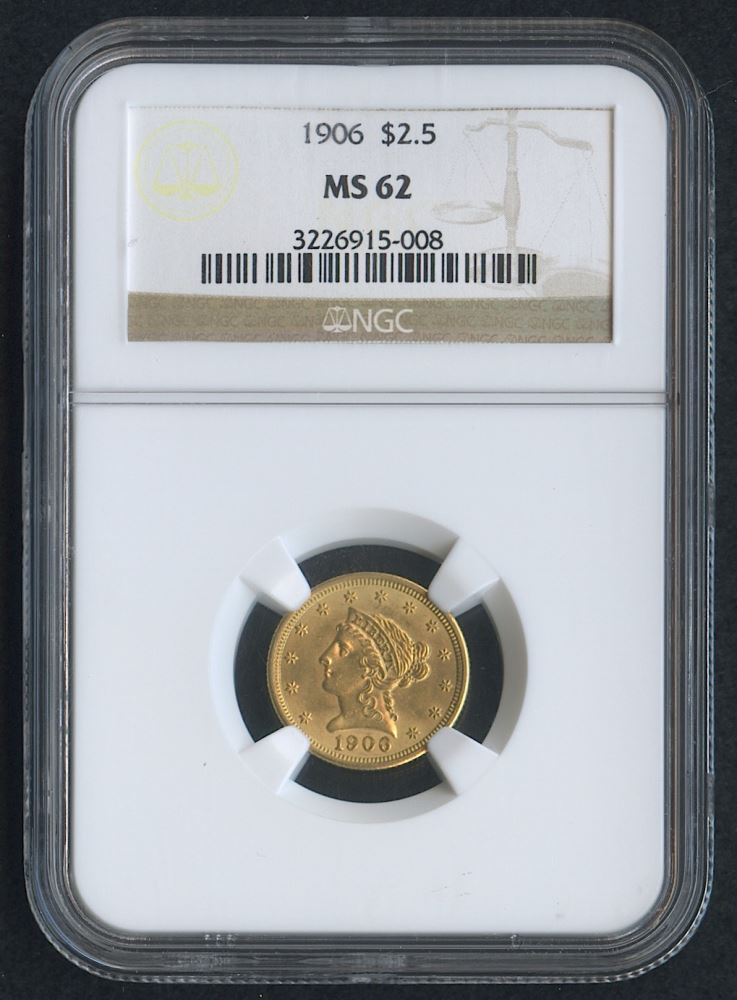 1906 $2 50 Liberty Head Gold Coin (NGC MS 62)
