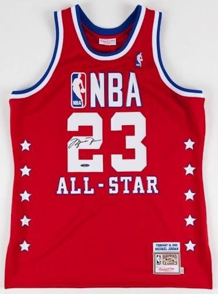 info for af9bb a1404 Michael Jordan Signed 1989 All Star Mitchell Ness Throwback ...