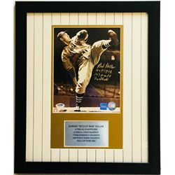 "Bob Feller Signed Indians 16x19 Custom Framed Photo Display Inscribed ""HOF 1962""  ""107.9 MPH Fastbal"