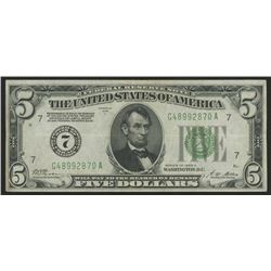 1928-A $5 Five Dollars U.S. Federal Reserve Note