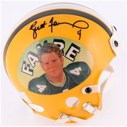 Brett Favre Signed Packers Mini-Helmet with Favre Portrait (JSA COA)