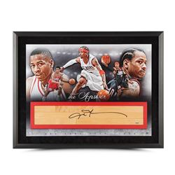 "Allen Iverson Signed 76ers ""The Answer"" LE 24x36 Custom Framed Game-Used Floor Piece Display (UDA CO"