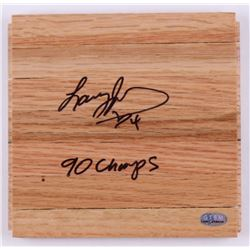 "Larry Johnson Signed 6x6 Wood Floorboard Inscribed ""90 Champs"" (GTSM COA)"