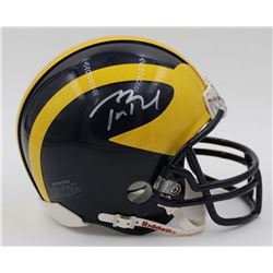 Tom Brady Signed Michigan Wolverines Mini-Helmet (Mounted Memories COA)