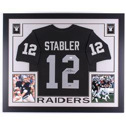 Ken Stabler Signed Raiders 35x43 Custom Framed Jersey (JSA COA  Stabler Hologram)