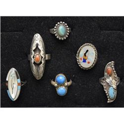 SIX NAVAJO RINGS