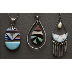 THREE ZUNI AND NAVAJO NECKLACES