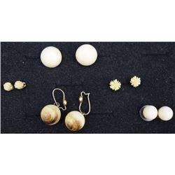 FIVE PAIR IVORY AND BONE EARRINGS