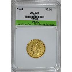 1834 $5.00 GOLD, PLAIN 4 PCSS AU/BU