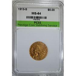 1913-S $5.00 GOLD INDIAN, PCSS CH/GEM BU