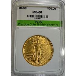1909/8 $20.00 ST. GAUDENS GOLD  PCSS UNC