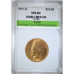 1911-D $10.00 GOLD INDIAN, PCSS CH/GEM BU