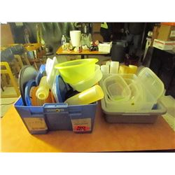 2 plastic tubs / plastic containers / lids & squeeze bottles