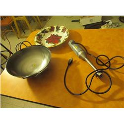dish lot. Wok X2, Xmas bowl, electric commercial emulsion blender