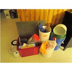 assorted lot misc tools, binders, utensils, paint X2