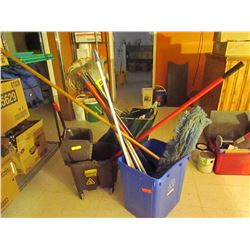 Mops and 2 industrial mop pails. Brooms with dust pans & assorted cleaning supplies