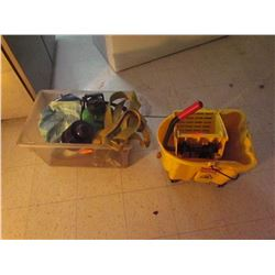 1 Industrail mop pail, misc sprayer plunger