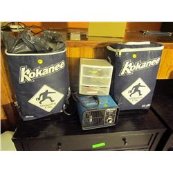 2 Misc Kokanee bags, electric deodorizer, car cleaning supplies