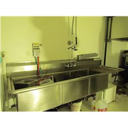 Stainless steel triple sink with attachments. 98 X 30 inch taps and sprayer and soap dispenser