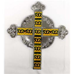 Mexican Pierced Tin and Tile Cross