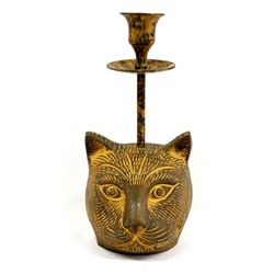 Cast Metal Cat Candlestick Holder