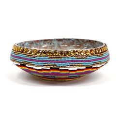 Beaded Wood Bowl by Kathy Kills Thunder