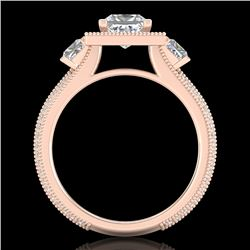 2.5 CTW Princess VS/SI Diamond Micro Pave 3 Stone Ring 18K Rose Gold - REF-527M3H - 37197
