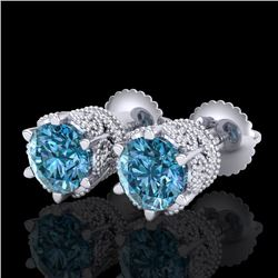 2.04 CTW Fancy Intense Blue Diamond Art Deco Stud Earrings 18K White Gold - REF-209K3W - 38097