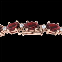 19.7 CTW Garnet & VS/SI Certified Diamond Eternity Bracelet 10K Rose Gold - REF-98W2F - 29369