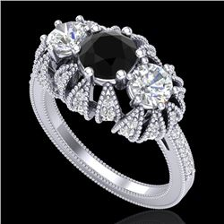 2.26 CTW Fancy Black Diamond Art Deco Micro Pave 3 Stone Ring 18K White Gold - REF-218N2Y - 37744