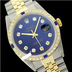 Rolex Ladies Two Tone 14K Gold/ss, Diam Dial & Diam/Sapphire Bezel, Sapphire Crystal - REF-434A7N