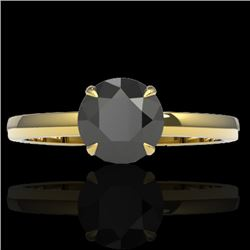 2 CTW Black VS/SI Diamond Designer Inspired Engagement Ring 18K Yellow Gold - REF-64K2W - 22216