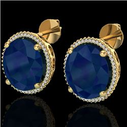 25 CTW Sapphire & Micro Pave VS/SI Diamond Halo Earrings 18K Yellow Gold - REF-200H2A - 20278