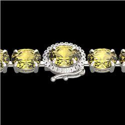 29 CTW Citrine & VS/SI Diamond Tennis Micro Pave Halo Bracelet 14K White Gold - REF-117Y3K - 23418