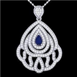 2 CTW Sapphire & Micro Pave VS/SI Diamond Designer Necklace 18K White Gold - REF-178M2H - 21271