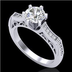 1.25 CTW VS/SI Diamond Solitaire Art Deco Ring 18K White Gold - REF-400F2N - 37073