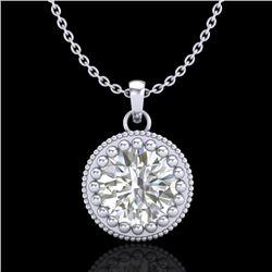 1 CTW VS/SI Diamond Solitaire Art Deco Necklace 18K White Gold - REF-292W5F - 36890