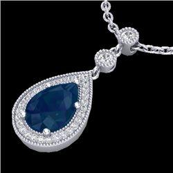 2.75 CTW Sapphire & Micro Pave VS/SI Diamond Necklace Designer 18K White Gold - REF-57K3W - 23140