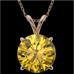 2.50 CTW Certified Intense Yellow SI Diamond Solitaire Necklace 10K Rose Gold - REF-687N2Y - 33249