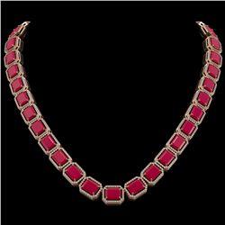 84.94 CTW Ruby & Diamond Halo Necklace 10K Rose Gold - REF-930H2A - 41478