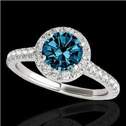1.7 CTW Si Certified Fancy Blue Diamond Solitaire Halo Ring 10K White Gold - REF-209N3Y - 33594