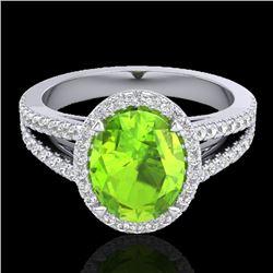 3 CTW Peridot & Micro VS/SI Diamond Halo Solitaire Ring 18K White Gold - REF-72Y2K - 20945