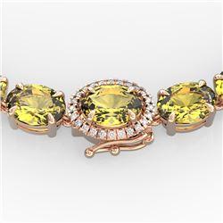45.25 CTW Citrine & VS/SI Diamond Tennis Micro Pave Halo Necklace 14K Rose Gold - REF-244W5F - 40262