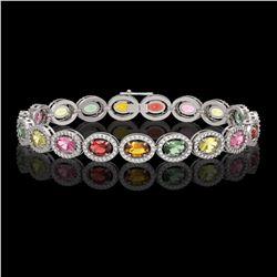 14.25 CTW Multi Color Sapphire & Diamond Halo Bracelet 10K White Gold - REF-304T5M - 40499