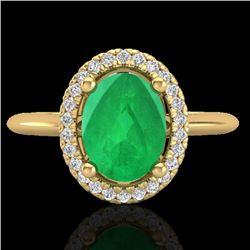 2 CTW Emerald & Micro Pave VS/SI Diamond Ring Solitaire Halo 18K Yellow Gold - REF-56A9X - 21010