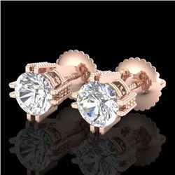 1.07 CTW VS/SI Diamond Solitaire Art Deco Stud Earrings 18K Rose Gold - REF-200T2M - 36912